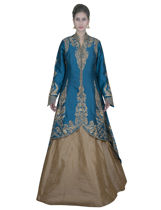 Peacock blue trail cut jacket lehenga with diamante and zari embroidery