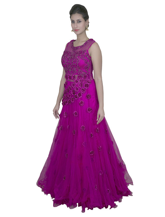 Dark pink indowestern gown with zardosi and patchwork