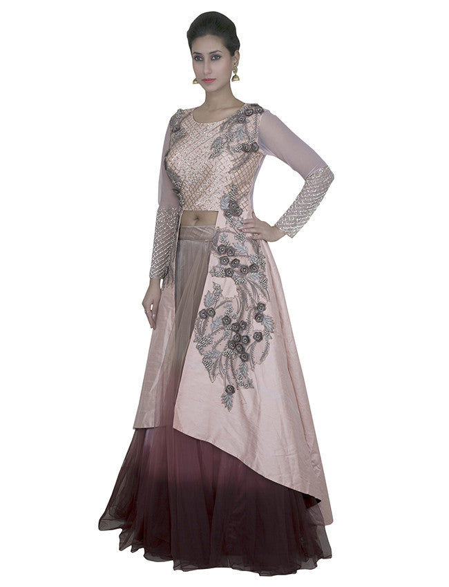 Maroon peach lacha lehenga with cutdana and lace work
