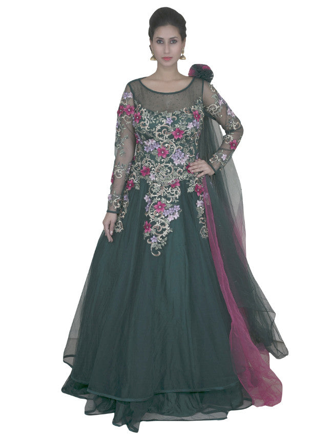Emerald green gown with embroidered patchwork