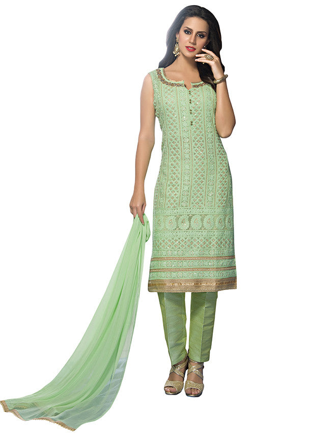 Sea green straight cut suit with lucknowi and handwork