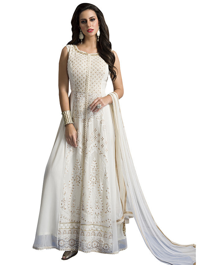 White designer anarkali with lucknowi and handwork