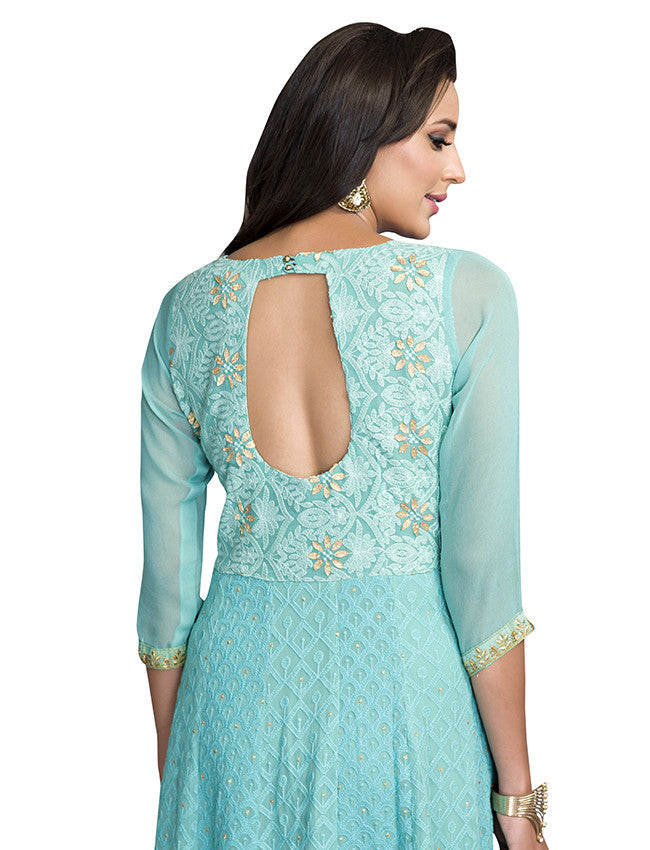 Turquoise designer anarkali with lucknowi and zari embroidery
