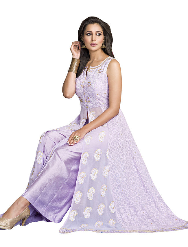 Lavender palazzo suit with lucknowi work