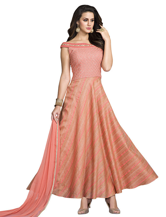 Peach designer suit with lucknowi and handwork