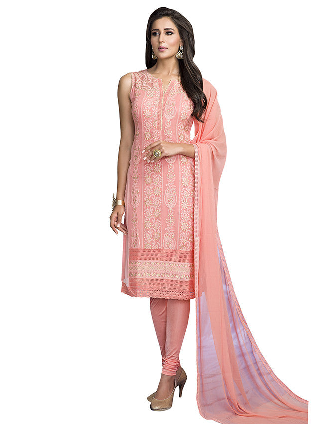 Peach straight cut suit with lucknowi work
