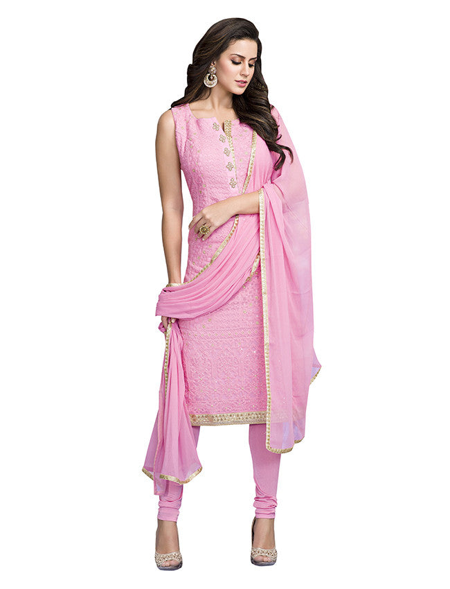 Rose pink straight cut suit with lucknowi work
