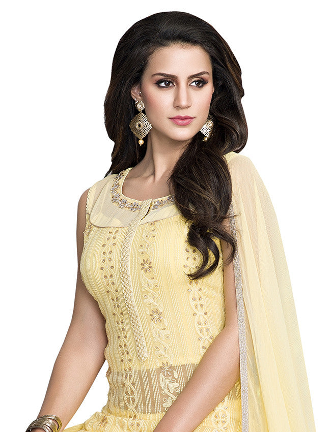 Lemon yellow palazzo suit with lucknowi and handwork