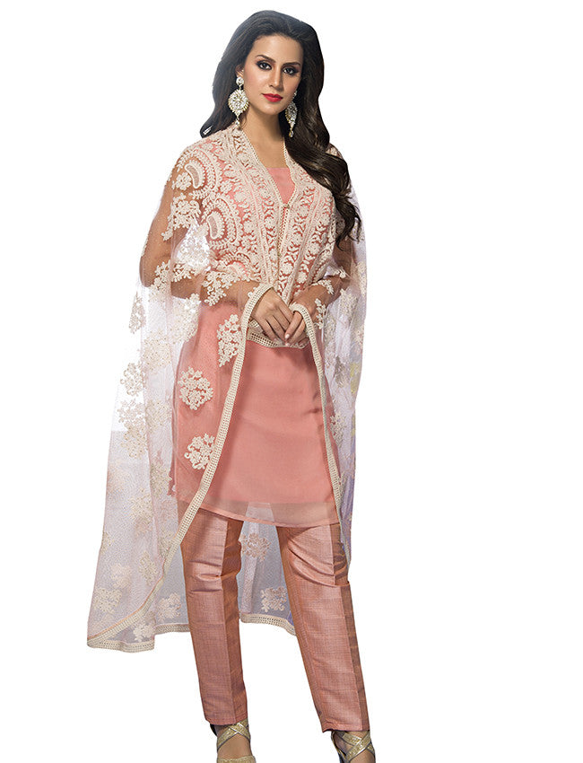 Peach cape style straight cut suit with lucknowi work