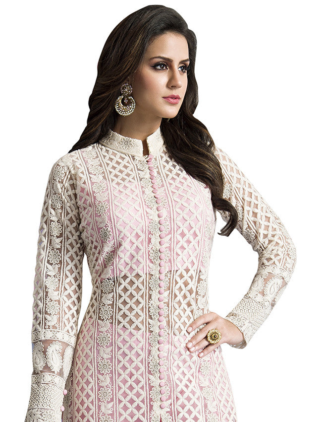 White palazzo suit with lucknowi work