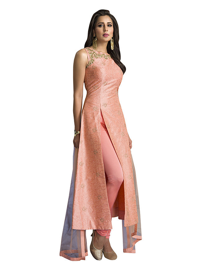 Peach designer suit with computerized aari and zari embroidery