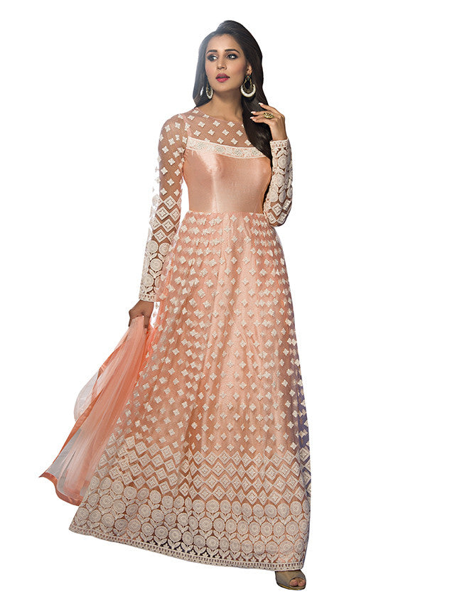 Peach anarkali with lucknowi embroidery