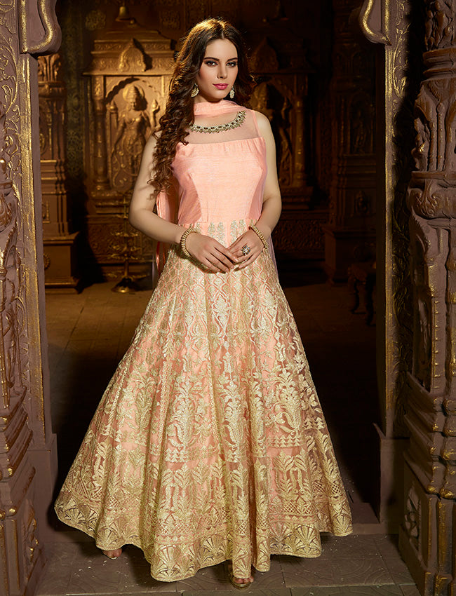 Rose pink anarkali suit with gotta lace and handwork