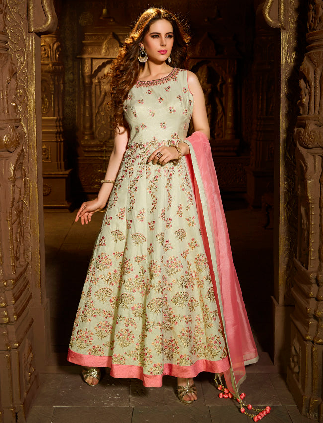 Pista green anarkali with resham zari embroidery and handwork
