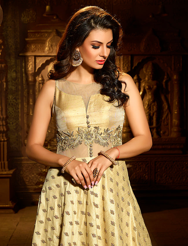 Beige party wear suit with zari embroidery and handwork