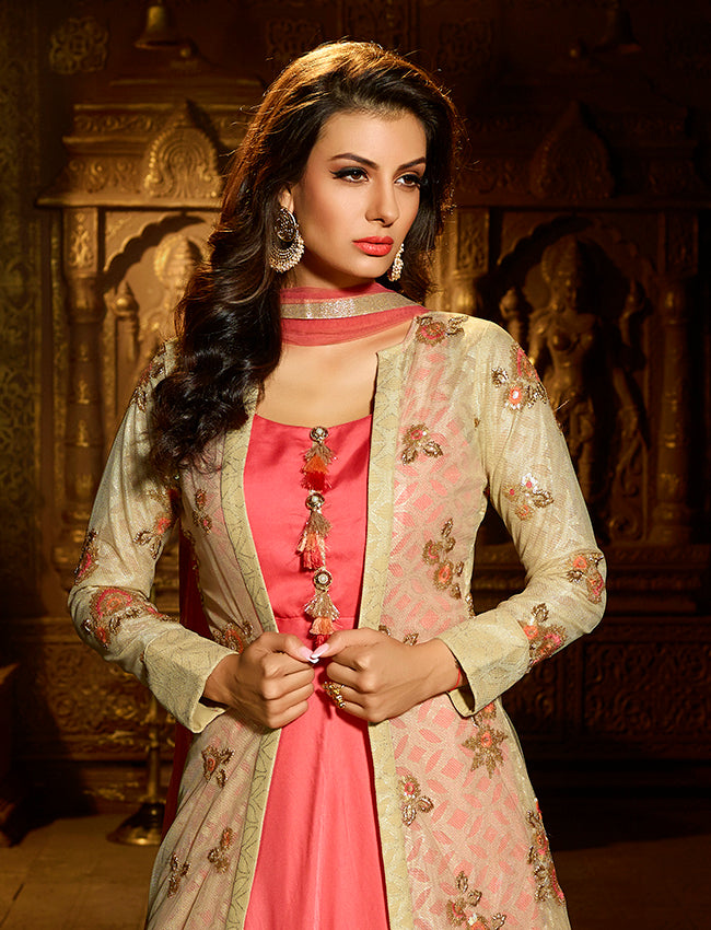 Pista green coral jacket suit with mukaish sequins work and resham embroidery