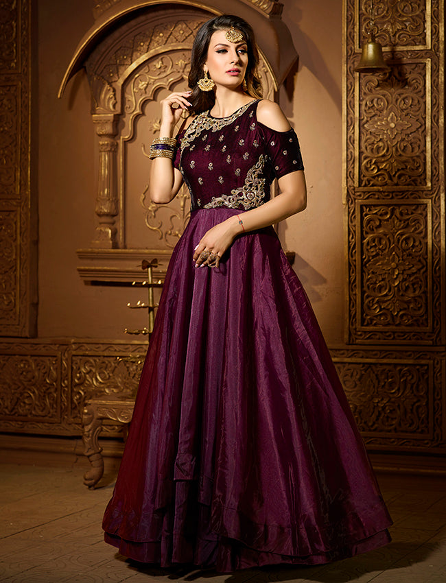 Wine party wear suit with zari embroidery and handwork