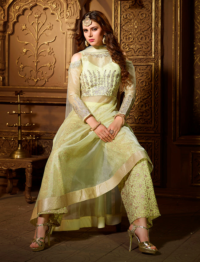 Pista green party wear suit with zari embroidery and gotta patti