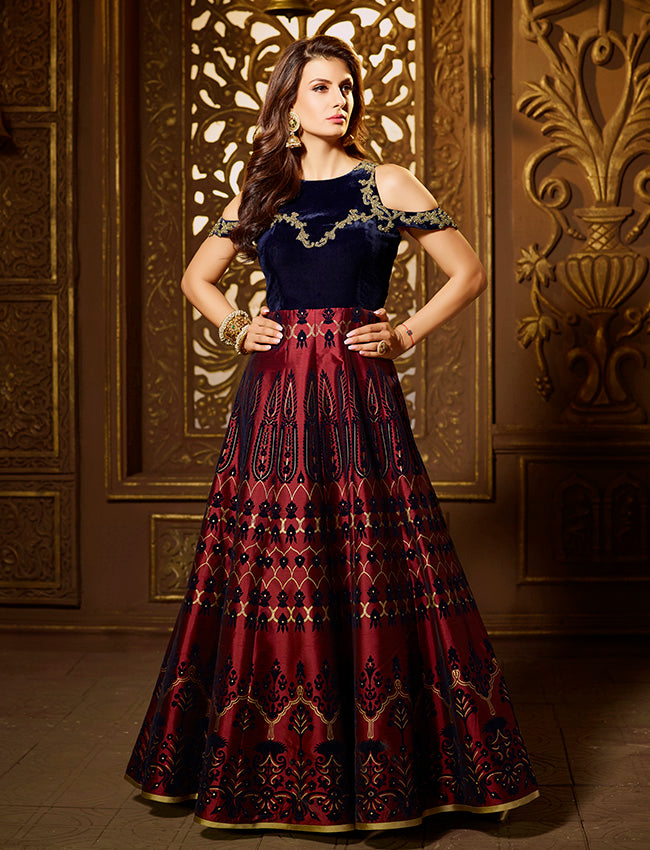 Maroon anarkali suit with handwork golden foil and velvet print
