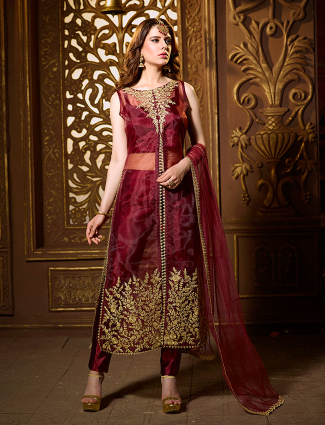 Maroon party wear suit with zari cording