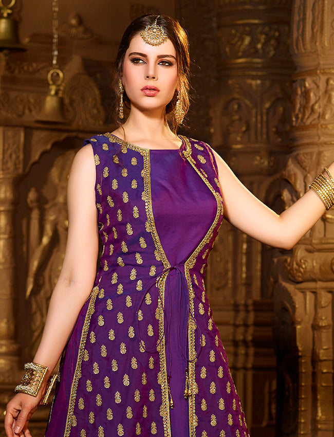 Royal purple jacket suit with zari embroidery