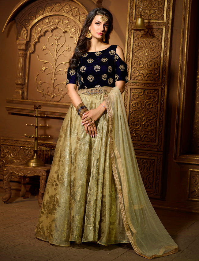 Pista green foil printed party wear suit with sequins and zardosi work