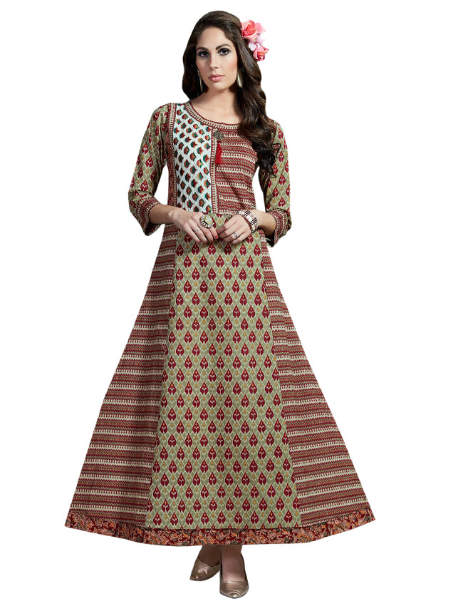 Maroon and grey printed kalidar kurti