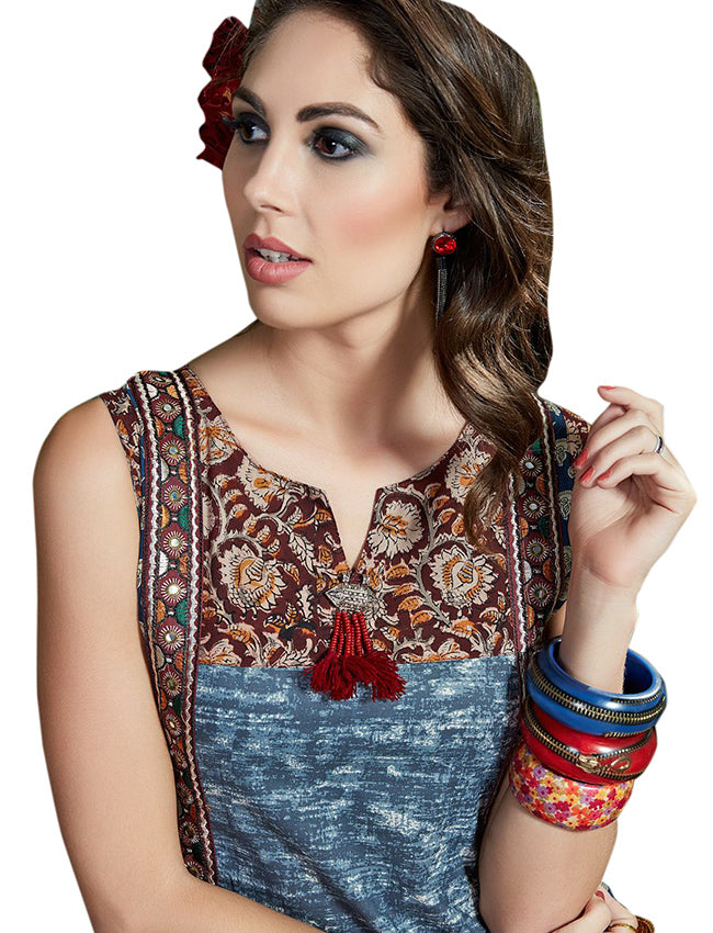 Blue traditional floral printed kurti