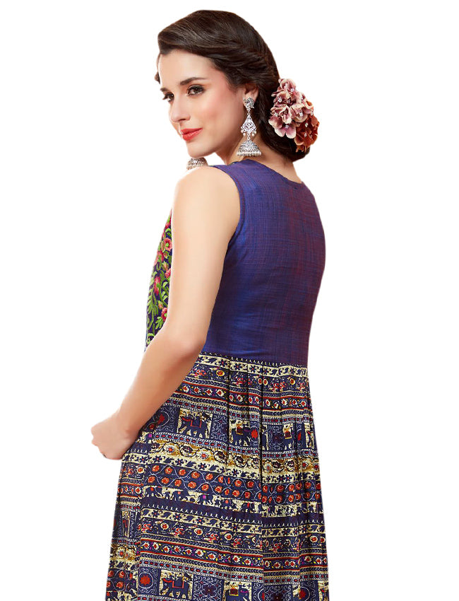 Blue printed designer kurti with resham embroidery