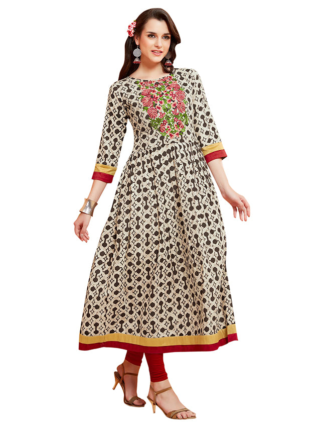 White and black printed kurti with resham embroidery