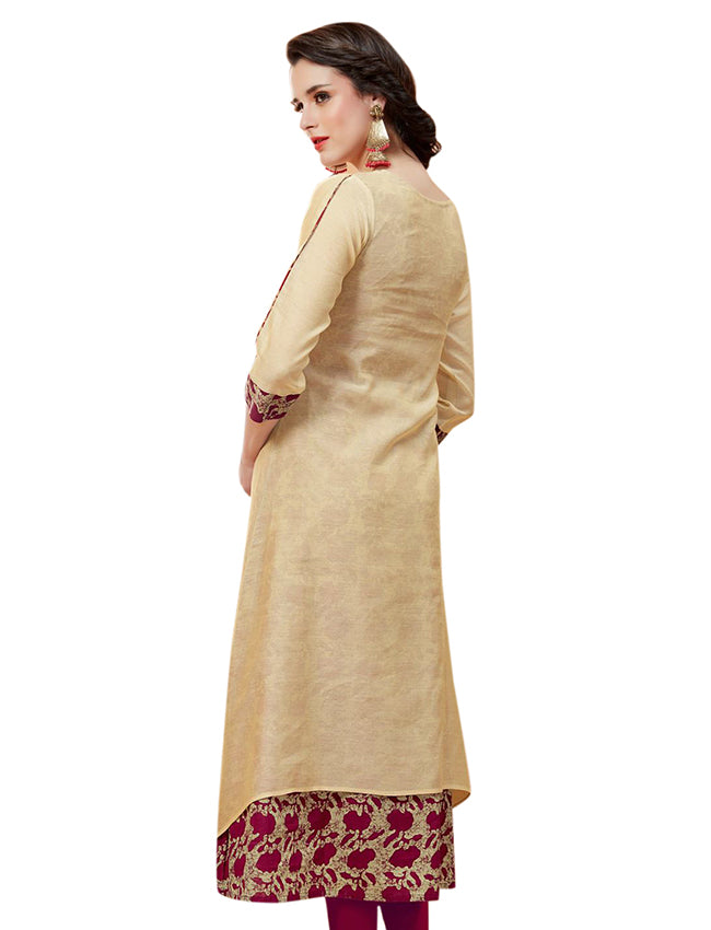 Beige double layered kurti with resham embroidery