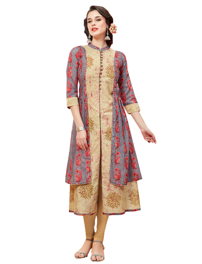 Beige and grey printed designer kurti