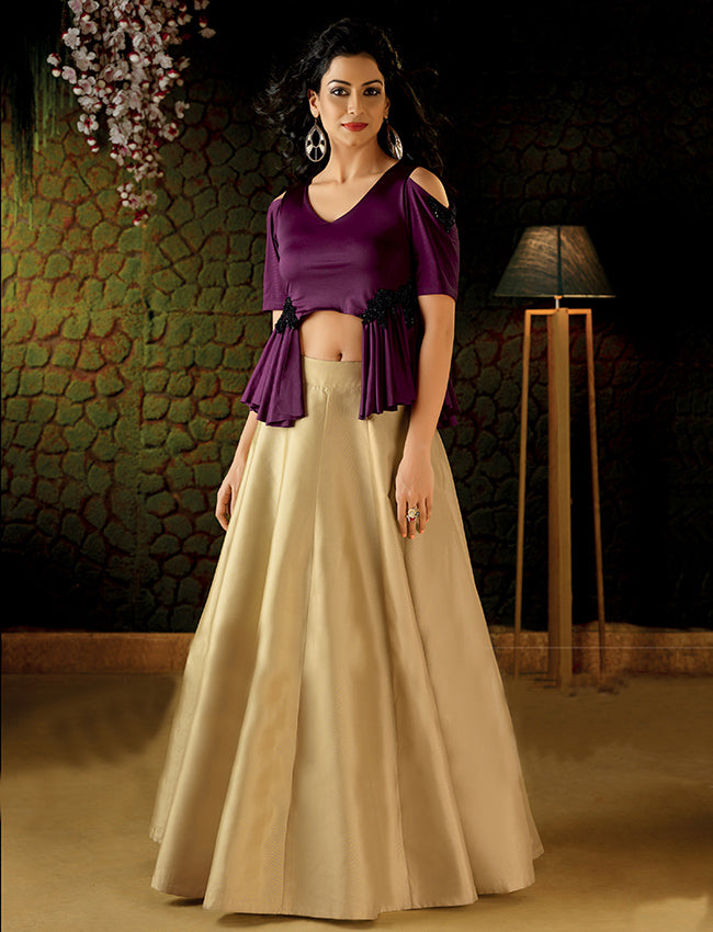 Beige and wine crop top lehenga with handwork patches