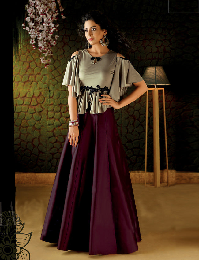 Wine and ash grey crop top lehenga with handwork patches