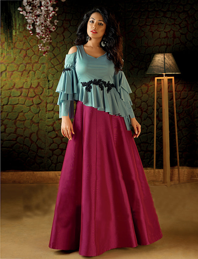Dark pink ice blue crop top lehenga with handwork patches