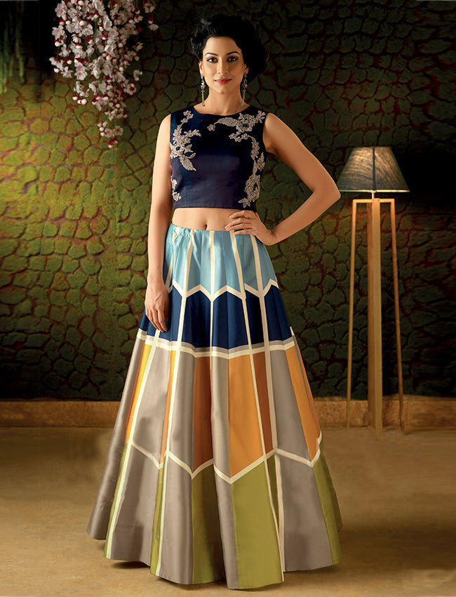 Multiprinted crop top lehenga with sequins pearl and thread embroidery