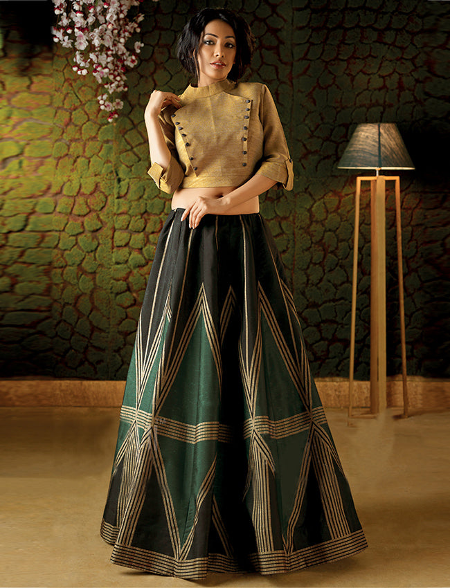 Black teal and beige crop top lehenga with geometrical prints