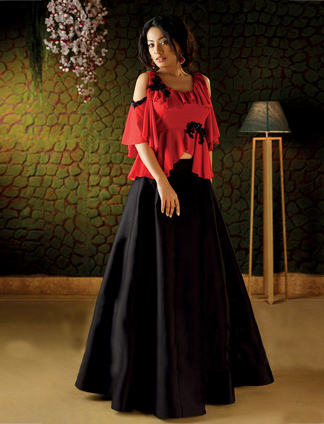 Black and red crop top lehenga with handwork patches