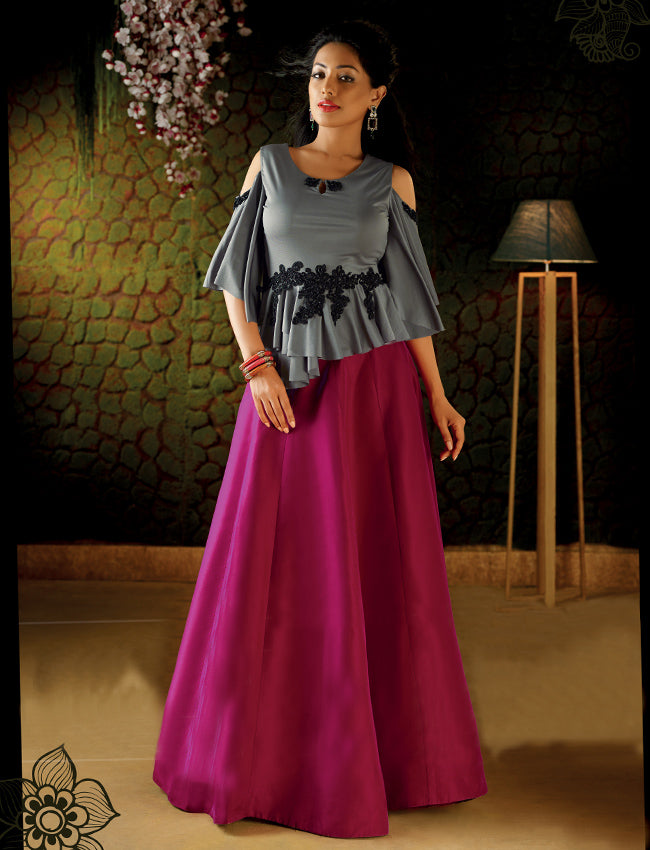 Dark pink and grey crop top lehenga with handwork patches