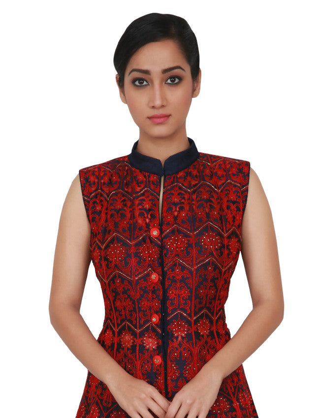 Navy blue jacket Lehenga with machine embroidery and handwork