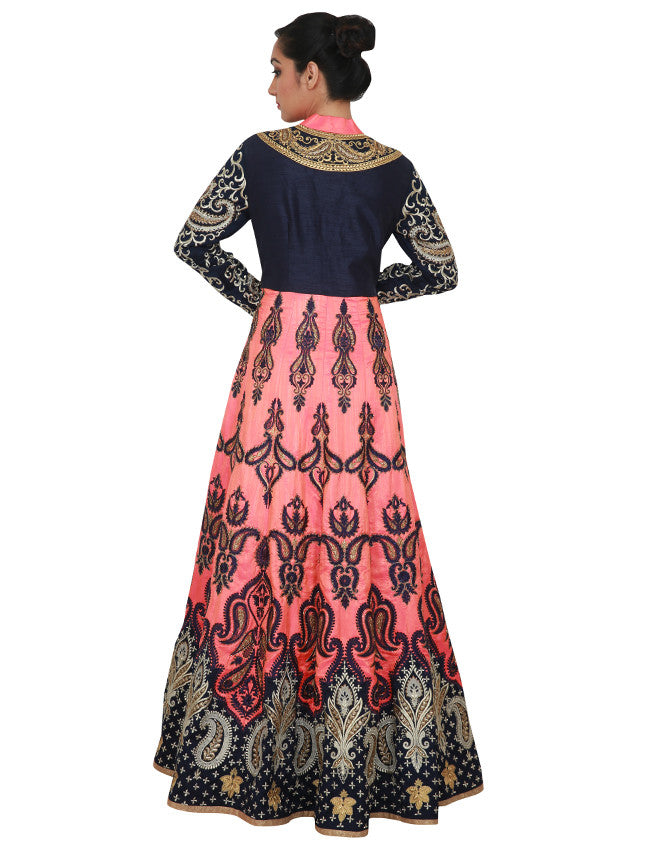 Coral pink blue jacket lehenga with zari and resham embroidery