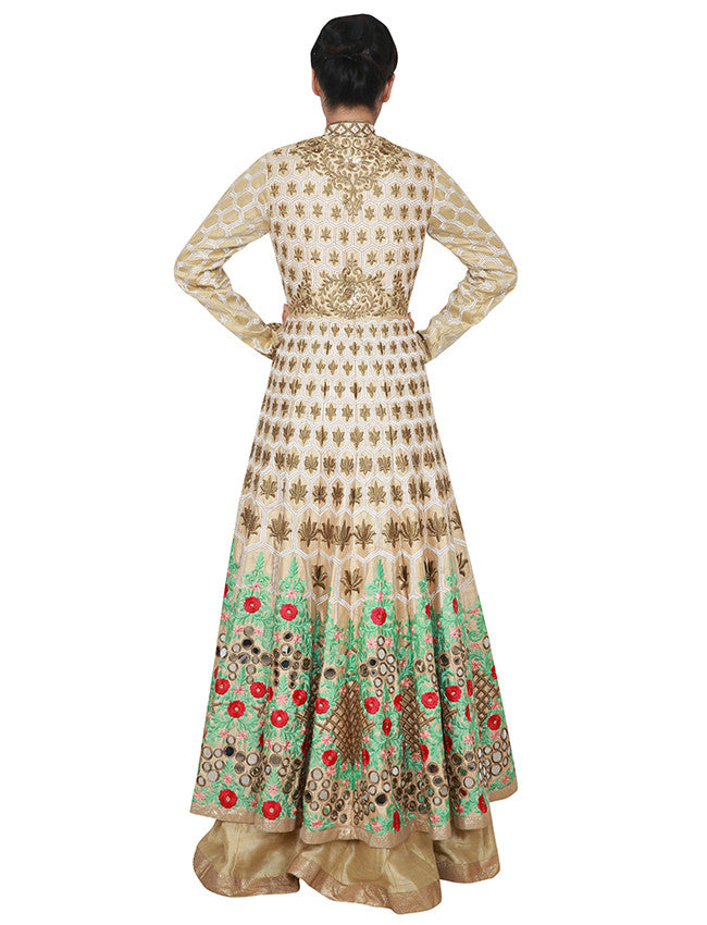 Beige lacha lehenga with zari and resham embroidery