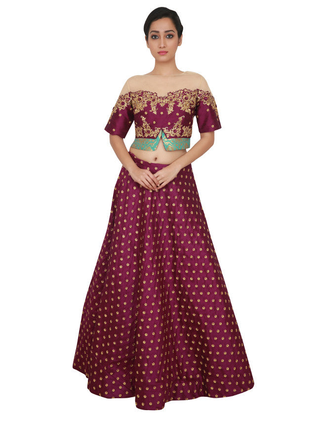 Purple lehenga with hand work and zari embroidery