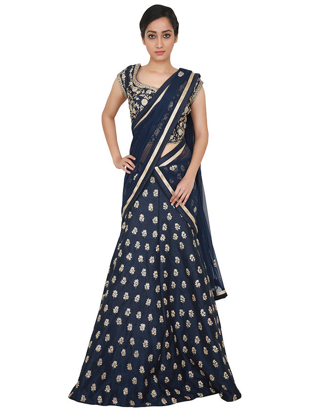 Navy blue lehenga with diamante and zari embroidery