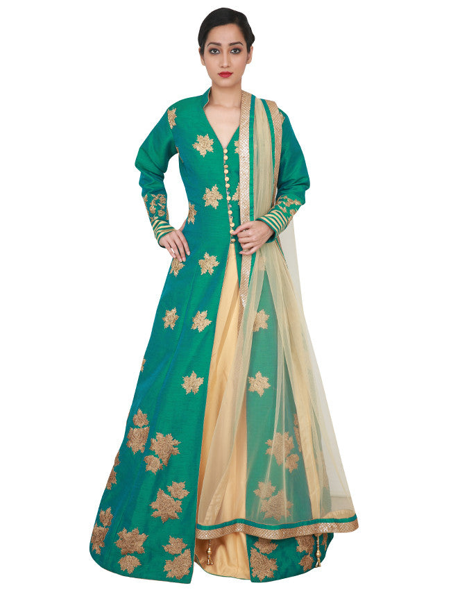 Teal green beige lacha lehenga with kundan and zari embroidery