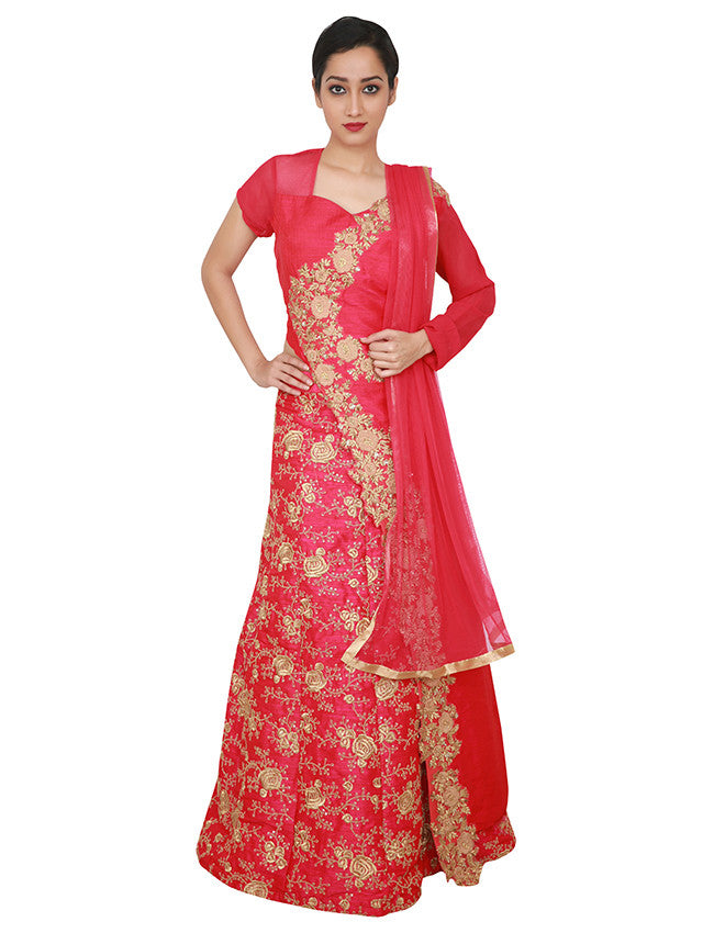 Deep pink lacha lehenga with thread and zari embroidery