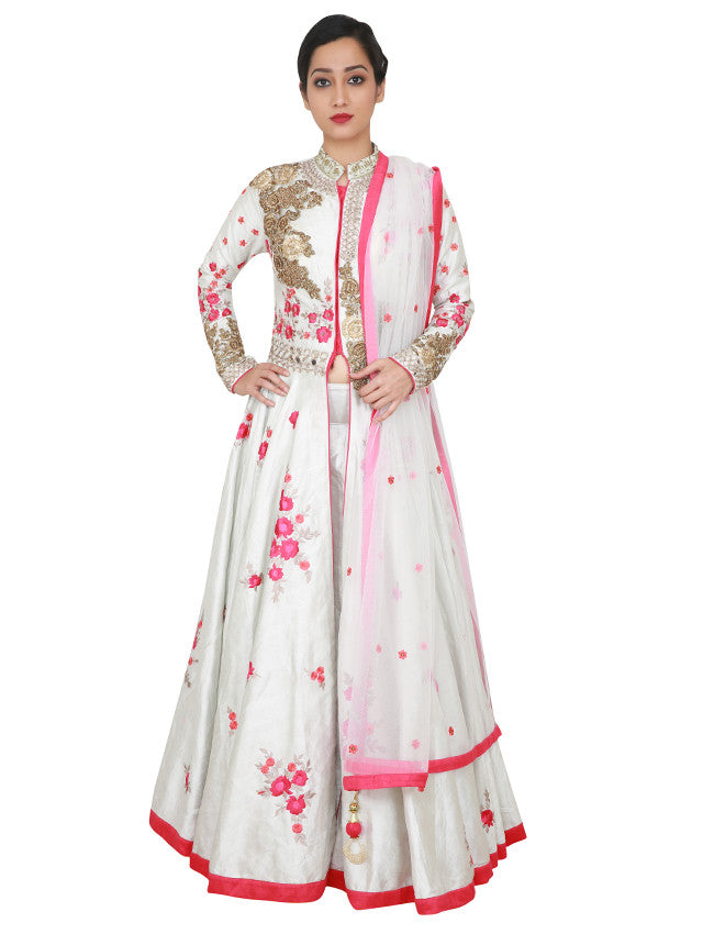 Off white jacket lehenga with zari and resham embroidery