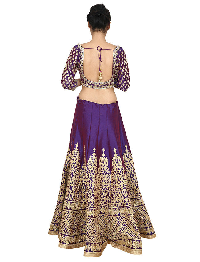 Royal purple lehenga with mirror and zari embroidery