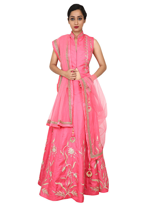 Rose pink indowestern lehenga with gotta patti and zari embroidery