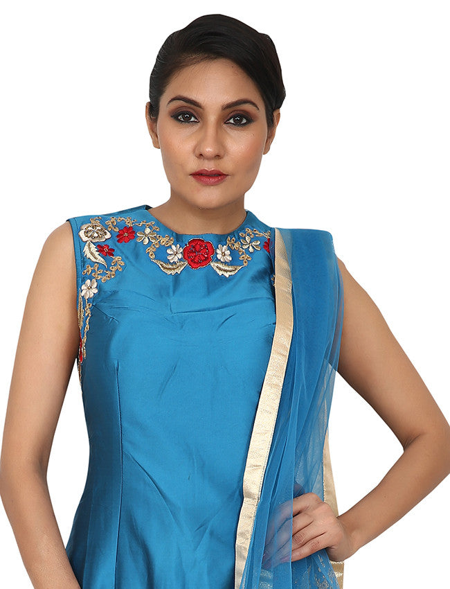 Peacock blue designer suit with resham and zari embroidery